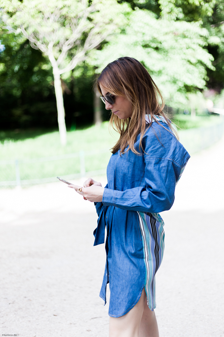 robe - maison martin morel - summer - été - robe en jean - rayures - blog - fashion blogger - girl - parisienne - parisian girl